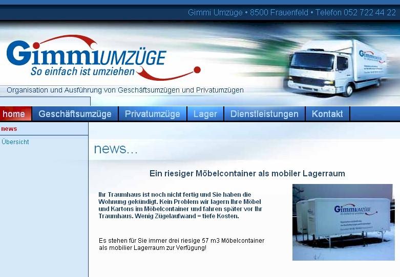 Gimmi Umzüge Gerlinkonerstrasse 33 CH 8500 Frauenfeld Tel